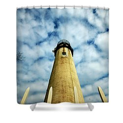 The Fenwick Light And A Mackerel Sky Shower Curtain