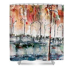 Shower Curtain featuring the painting The Ferry Arrives At Galata Port - Istanbul by Faruk Koksal