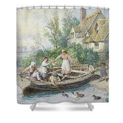 The Ferry Shower Curtain by Myles Birket Foster