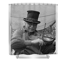 The Fiddler Shower Curtain by Sara  Raber