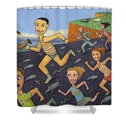 The Finish Line Shower Curtain by James W Johnson