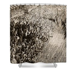 The Finishing Line Of The Derby Shower Curtain by Gustave Dore