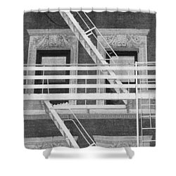 The Fire Escape In Black And White Shower Curtain by Rob Hans