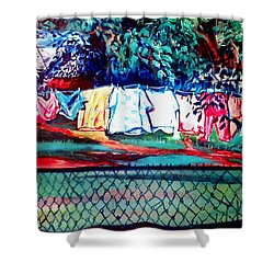 The First Clothing Line  Shower Curtain by Ecinja