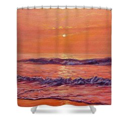 The First Day-sunrise On The Beach Shower Curtain