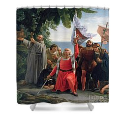 The First Landing Of Christopher Columbus In America Shower Curtain by  Dioscoro Teofilo Puebla Tolin