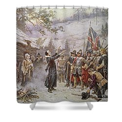 The First Sermon Ashore Shower Curtain by Jean Leon Gerome Ferris