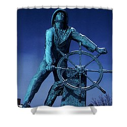 Shower Curtain featuring the photograph The Fisherman Statue Gloucester by Tom Wurl