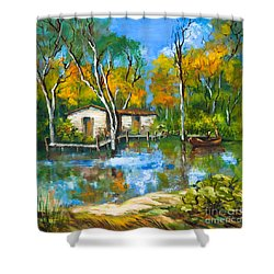 The Fishing Camp Shower Curtain by Dianne Parks
