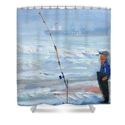 The Fishing Man Shower Curtain