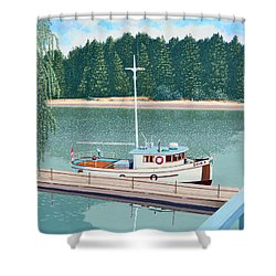 The Converted Fishing Trawler Gulvik Shower Curtain