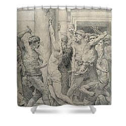The Flagellation Of Christ Shower Curtain by William Adolphe Bouguereau