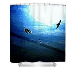 Shower Curtain featuring the photograph The Flight by Miroslava Jurcik