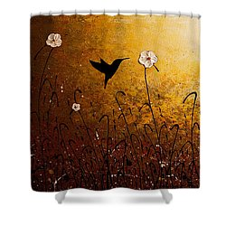 The Flight Of A Hummingbird Shower Curtain by Carmen Guedez