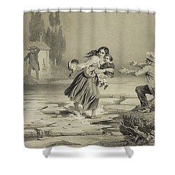 The Flight Of Eliza, Plate 3 From Uncle Shower Curtain by Adolphe Jean-Baptiste Bayot