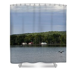 The Flight Of The Great Blue Heron Shower Curtain by Verana Stark