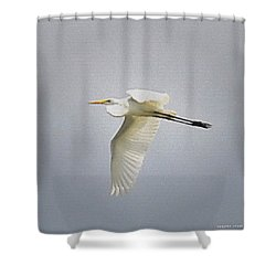The Flight Of The Great Egret With The Stained Glass Look Shower Curtain by Verana Stark
