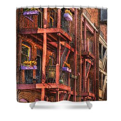 The Flower Pots On The Patio Shower Curtain by Paul Ward