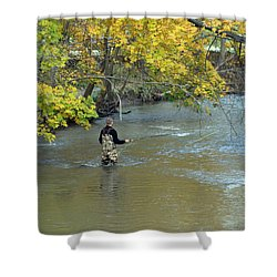 The Fly Fisherman Shower Curtain by Kay Novy