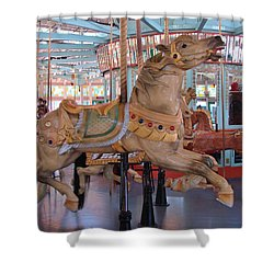 The Flying Horses Shower Curtain by Margaret Bobb