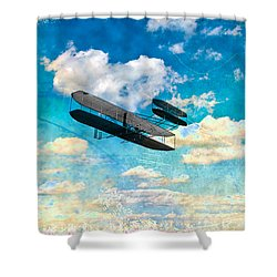 The Flying Machine Shower Curtain by Bill Cannon