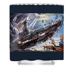The Flying Submarine Shower Curtain by Reynold Jay
