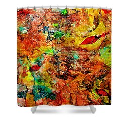 Shower Curtain featuring the painting The Forest Floor by Carolyn Repka
