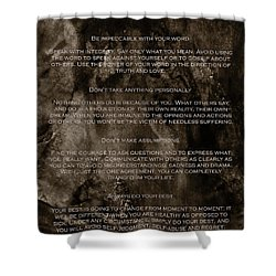 The Four Agreements Shower Curtain by Andrea Anderegg