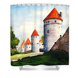 The Four Old Towers Estonia Shower Curtain