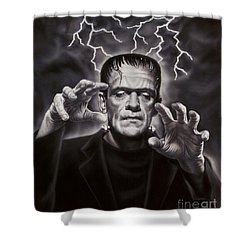 The Frankenstein Monster Shower Curtain by Dick Bobnick