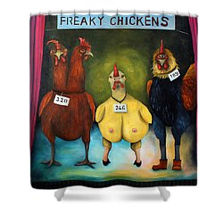 The Freaky Chicken Competition Shower Curtain