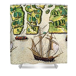 The French Discvoer Six More Rivers Shower Curtain by Jacques Le Moyne