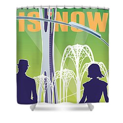 The Future Is Now - Green Shower Curtain