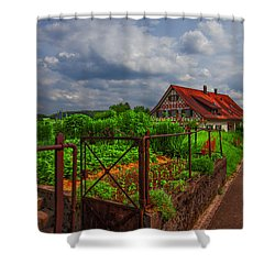 The Garden Gate Shower Curtain by Debra and Dave Vanderlaan