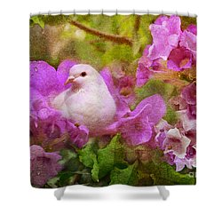 The Garden Of White Dove Shower Curtain by Olga Hamilton