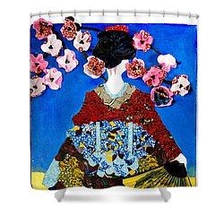 Shower Curtain featuring the tapestry - textile The Geisha by Apanaki Temitayo M