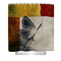 The Giant Butterfly And The Moon - S09-22cbrt Shower Curtain by Variance Collections