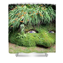 The Giant's Head Heligan Cornwall Shower Curtain by Richard Brookes