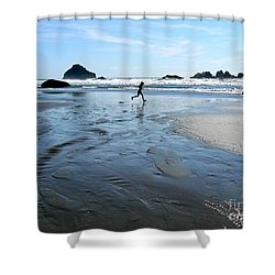 the Girl and the Ocean Shower Curtain by Dona  Dugay