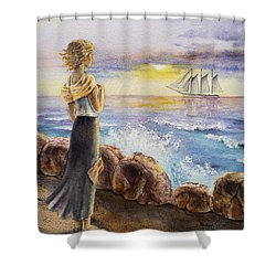 The Girl And The Ocean Shower Curtain