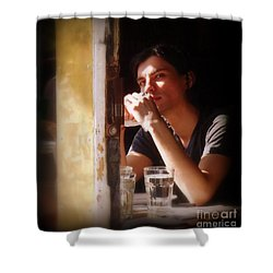 The Glass Of Water Shower Curtain by Miriam Danar