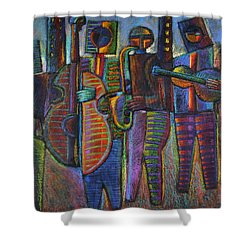 The Gods Of Music Come To New York Shower Curtain by Gerry High