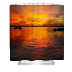 The Golden Hour Shower Curtain by Karen Wiles