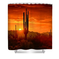 The Golden Southwest Skies  Shower Curtain by Saija  Lehtonen