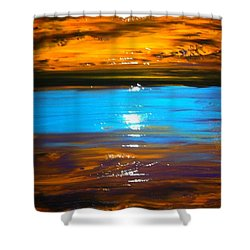 Shower Curtain featuring the painting The Golden Sunset by Kicking Bear  Productions