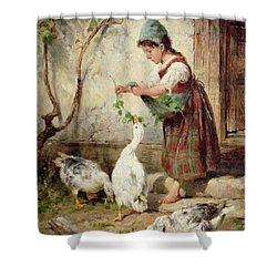 The Goose Girl Shower Curtain by Antonio Montemezzano