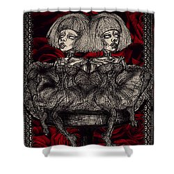 The Gothic Twin Girls Shower Curtain