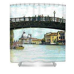 Shower Curtain featuring the painting The Grand Canal Venice Italy by Albert Puskaric