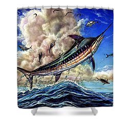 The Grand Challenge  Marlin Shower Curtain by Terry Fox