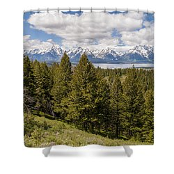 The Grand Tetons From Signal Mountain - Grand Teton National Park Wyoming Shower Curtain by Brian Harig